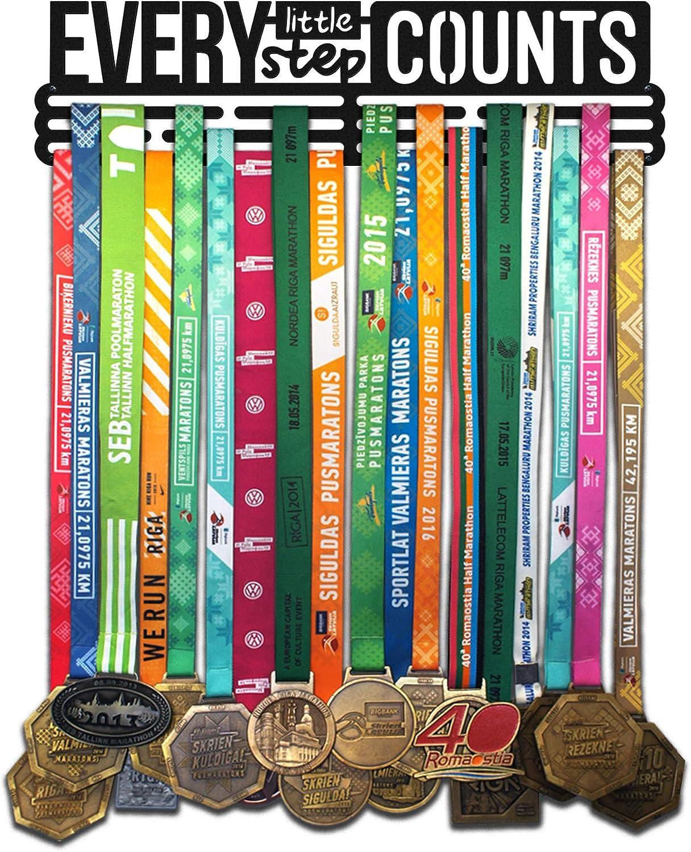 3 barre da appendere fino a 48 medaglie   Cornice per montaggio a parete in acciaio verniciato a polvere nera United Medals Every Little Step Counts Espositore per medaglie sportive