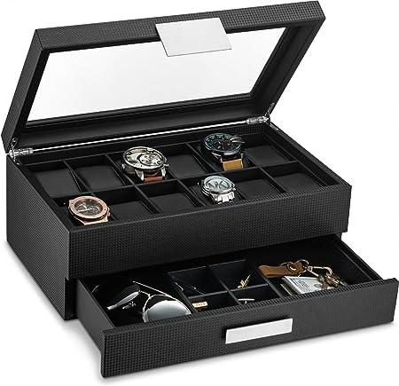 Caja para reloj con cajón valet para hombres – estuche de lujo para relojes con 12 ranuras organizador de exhibición, diseño de fibra de carbono para joyerí: Amazon.es: Hogar