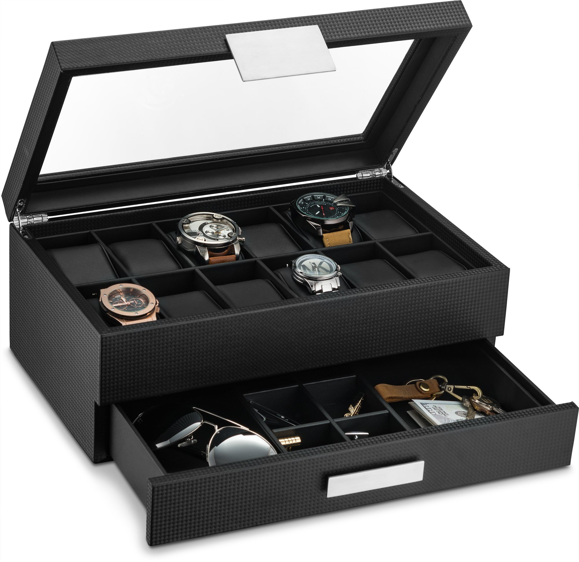 Glenor Co Watch Box with Valet Drawer for Men - 12 Slot Luxury Watch Case Display Organizer, Carbon Fiber Design - Metal Buckle for Mens Jewelry Watches, Men's Storage Boxes Holder has Large Glass Top by Glenor Co.