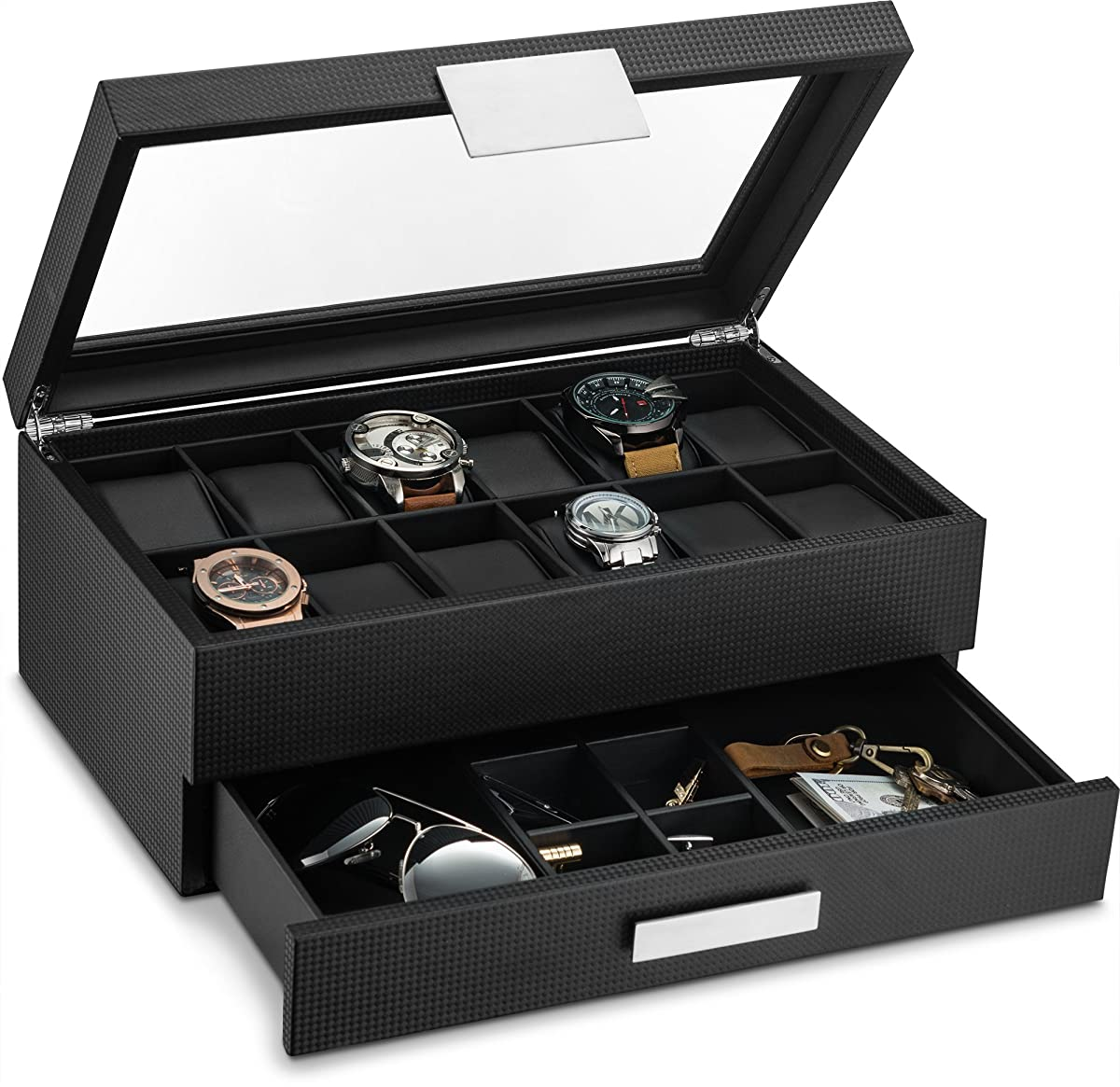Glenor Co Watch Box with Valet Drawer for Men - 12 Slot Luxury Watch Case Display Organizer, Carbon Fiber Design - Metal Buckle for Mens Jewelry Watches, Mens Storage Boxes Holder has Large Glass Top