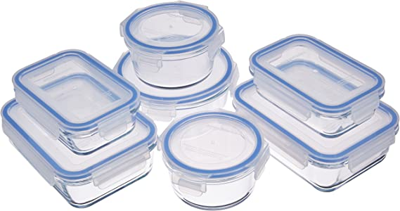 AmazonBasics - Recipientes de cristal para alimentos, con cierre 14 piezas (7 envases + 7 tapas), sin BPA: Amazon.es: Hogar