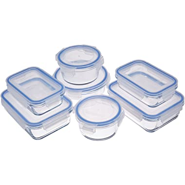 AmazonBasics Glass Locking Lids Food Storage Containers, 14-Piece Set