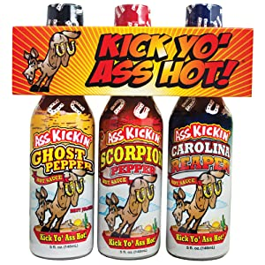 ASS KICKIN' Kick Yo' Ass Hot Sauce Bottles Gift Set - Ghost Pepper, Scorpion and Carolina Reaper Hot Sauces - Try if you dare! – Perfect Stocking Stuffers or Christmas Gifts for the Hot Sauce Fan