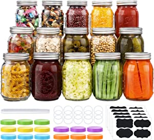 15-Count Mason Jars 16 oz, Regular Mouth Canning Jars with Metal Airtight Lids and Bands, Extra Leak-Proof Colored Lids, Chalkboard Labels, Marker, for Meal Prep, Food Storage, Canning, Preserving
