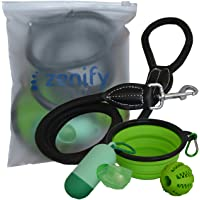 Dog Leash Travel Accessories Set (Lead + Collapsible Water Food Bowl + Training Treat Fetch Ball Toy + Waste Bag Dispenser + Poop Bag Roll) for Pet Dogs and Puppies