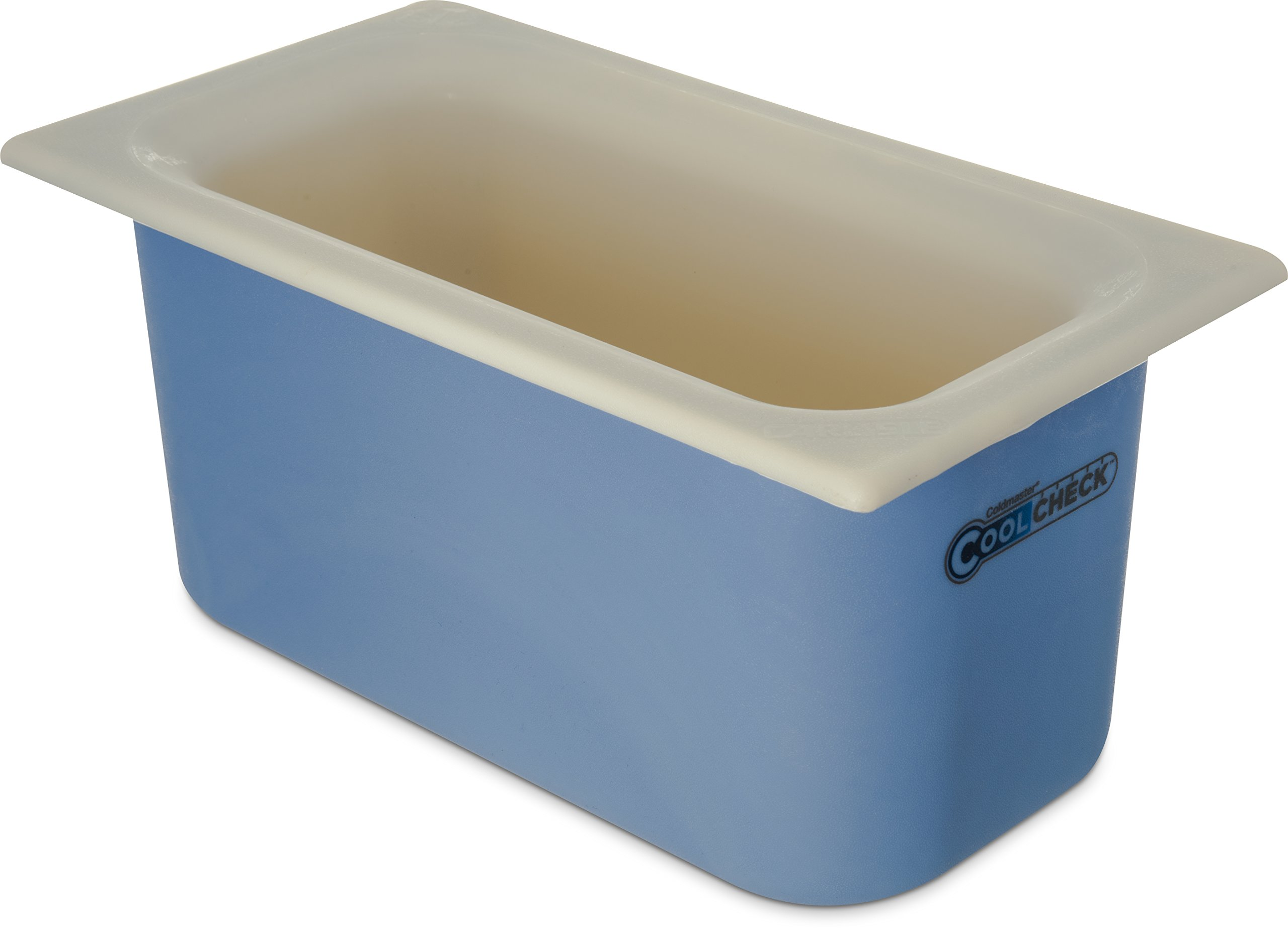 Carlisle CM1102C1402 Coldmaster CoolCheck 6'' Deep Third-Size Insulated Food Pan, 4 Quart, Color Changing, White/Blue