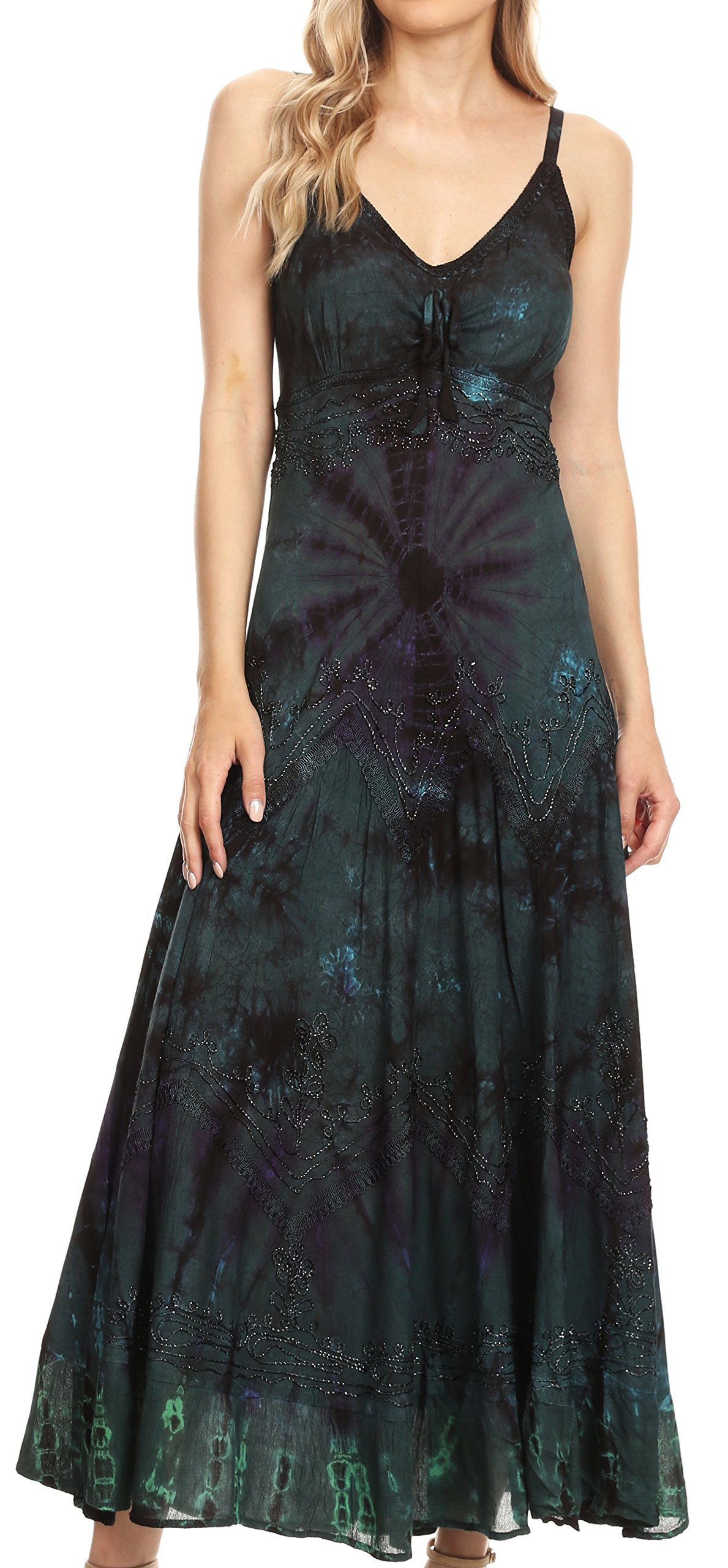 Sakkas 182104 - Adela Women's Tie Dye Embroidered Adjustable Spaghetti Straps Long Dress - Teal - 1X/2X