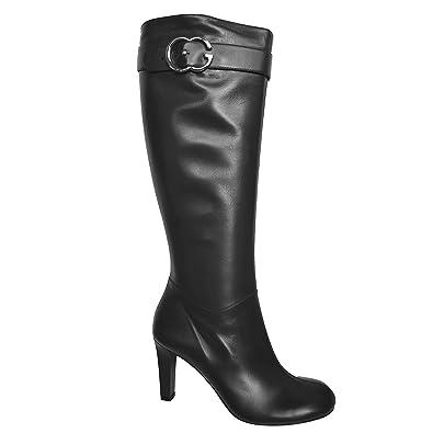 958d6ffc8f33 Amazon.com  Gucci Boots Interlocking G Leather Riding Mid-heel ...