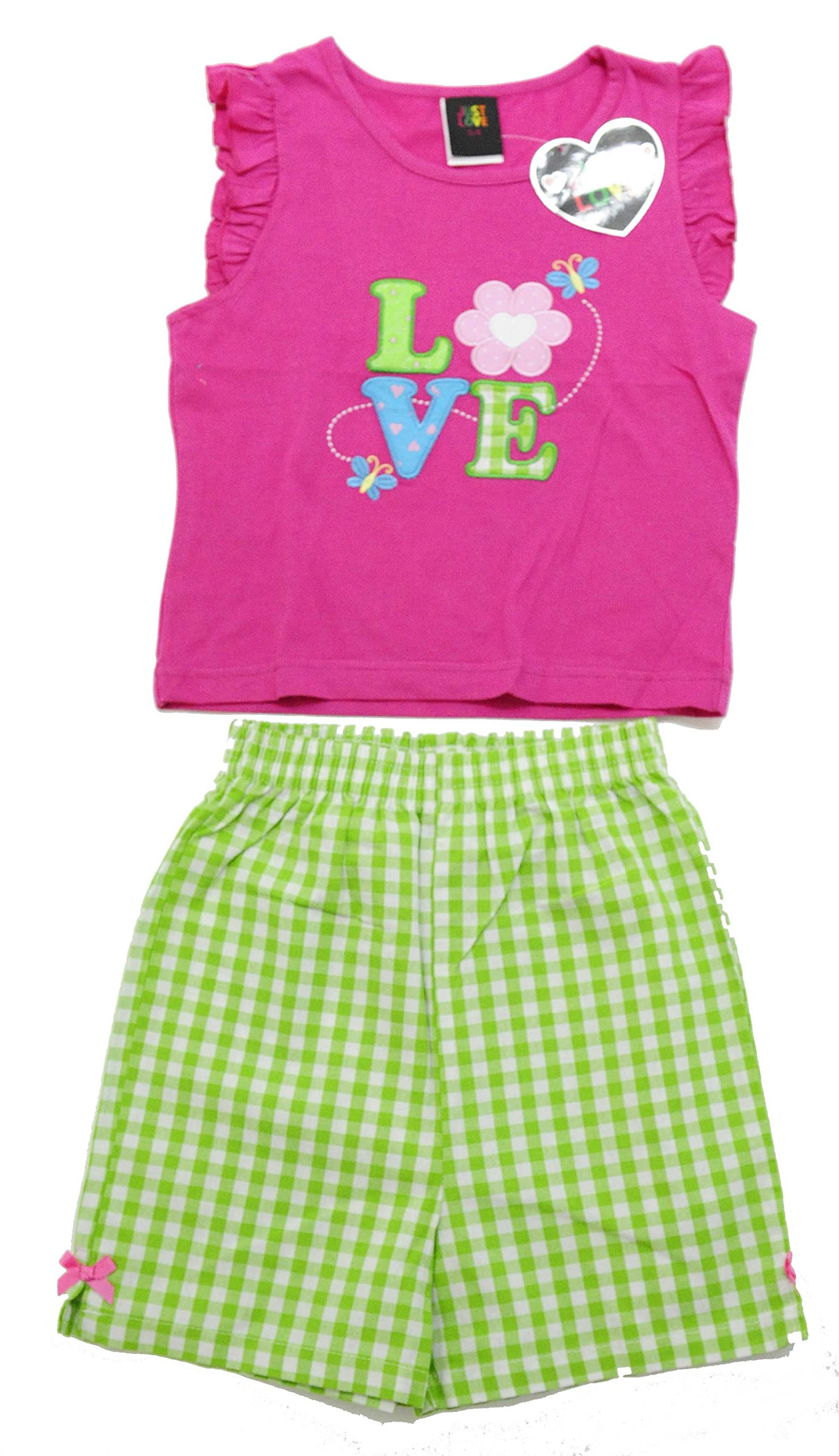 Just Love 4003-4 Two Piece Girls Shorts Set, Pink Love, 4