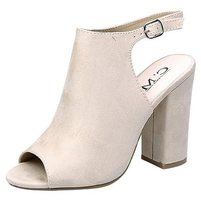 c7835f47c26e Feet First Fashion Felicia Womens High Block Heel Peep Beige Faux Suede 8  UK 41 EU  Amazon.co.uk  Shoes   Bags