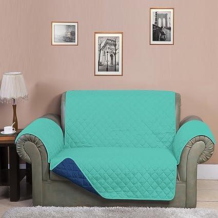 @home Microfibre Reversible Sofa Cover - 70x110, Sea Green and Indigo