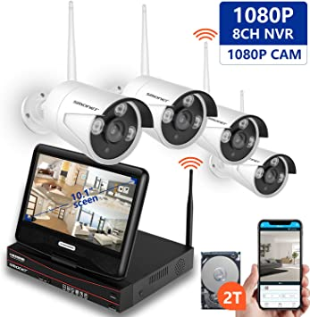 1TB Hard Drive ,4pcs 960P Indoor//Outdoor Wireless IP Cameras,P2P,Night Vision,Easy Remote View,Free APP SMONET 2020 Security Camera System Wireless,8-Channel 1080P Home Security System 1.3 Megapixel