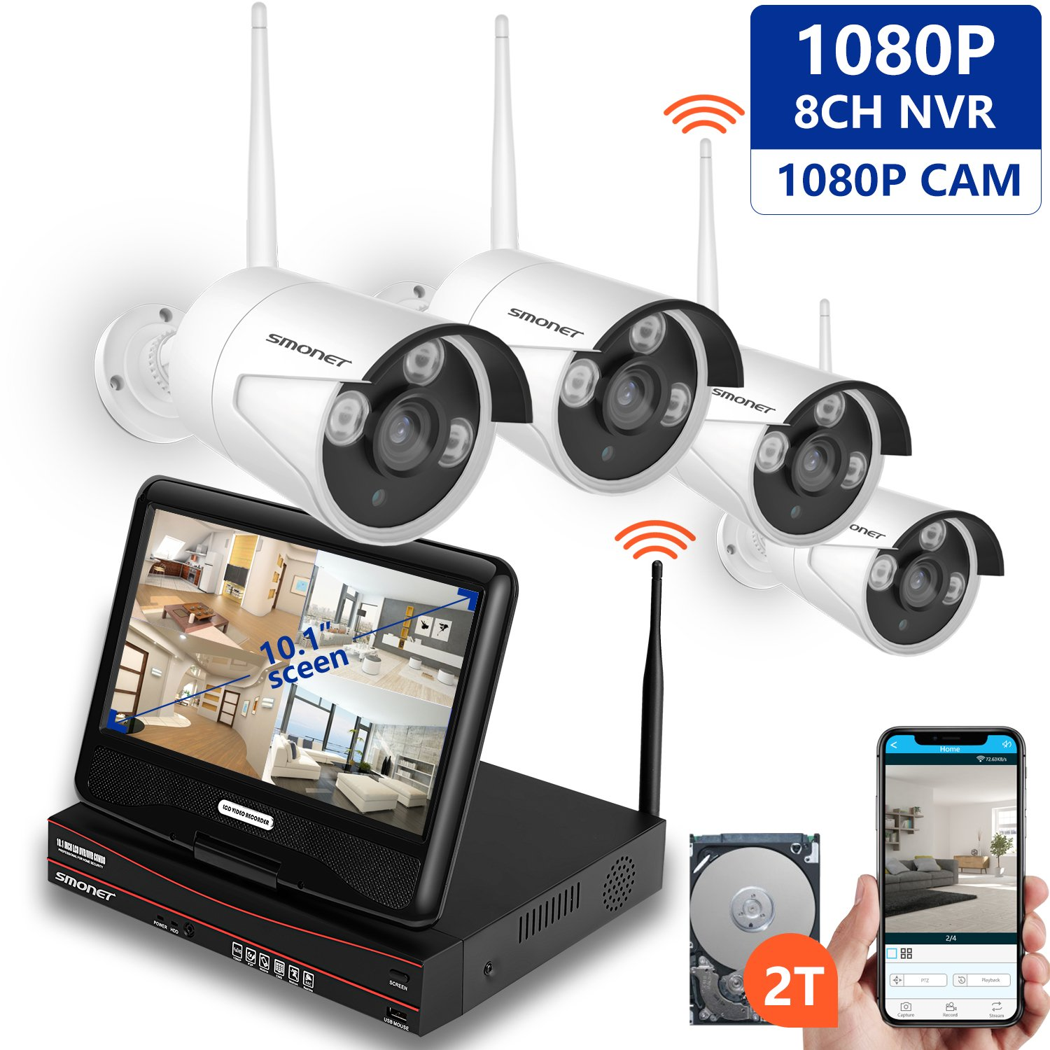 1080P Wireless Security Camera Systems,SMONET 8-Channel Video Security Systems(2TB Hard Drive,4pcs 1080P(2.0MP) Outdoor&Indoor Wireless IP Cameras,with 10.1inches Monitor,P2P,Easy Remote View,Free APP