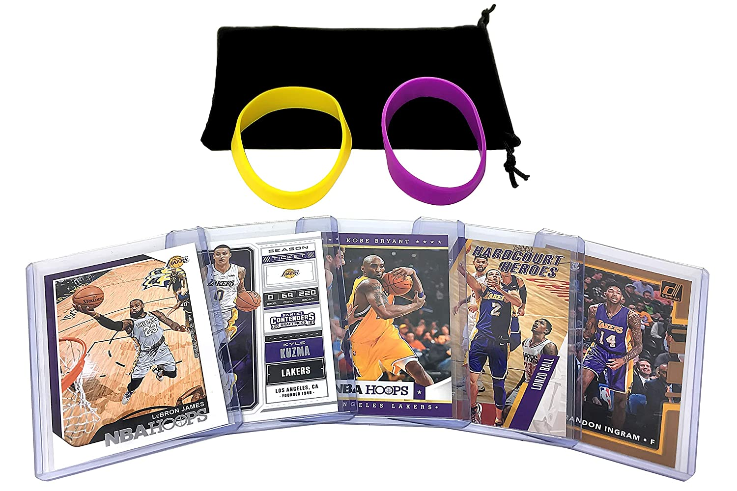 Los Angeles Lakers Cards: Lebron James, Lonzo Ball, Kyle Kuzma, Kobe Bryant, Brandon Ingram ASSORTED Trading Cards and Wristbands Bundle Panini Hoops Topps