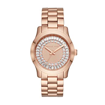 f26624b4e9 Image Unavailable. Image not available for. Color: Michael Kors MK6533  Kyler Blue Leather Strap Rose Gold Stainless Steel ...