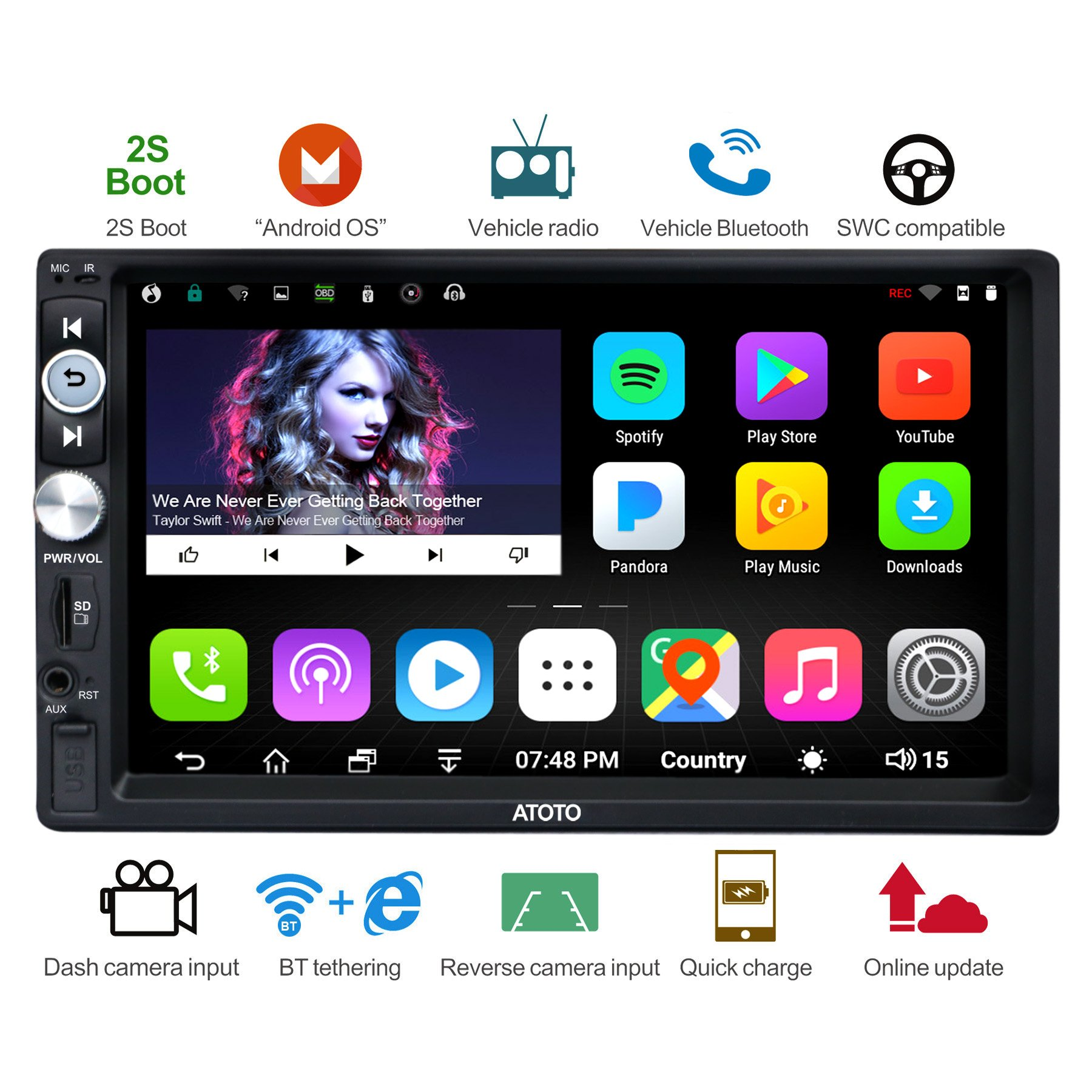 [NEW] ATOTO A6 2DIN Android Car Navigation Stereo with Dual Bluetooth & 2A Charge -Premium A6Y1721PB 2G/32G Car Entertainment Multimedia Radio,WiFi/BT Tethering internet,support 256G SD &more