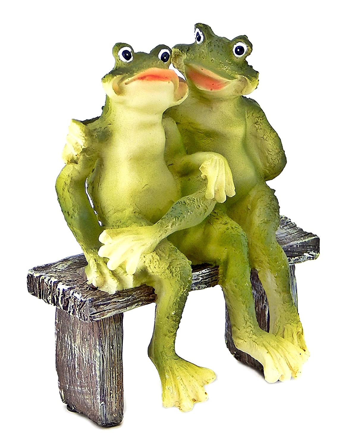 Amazon.com: 2 Frogs on Bench Garden Decoration Collectible Figurine ...