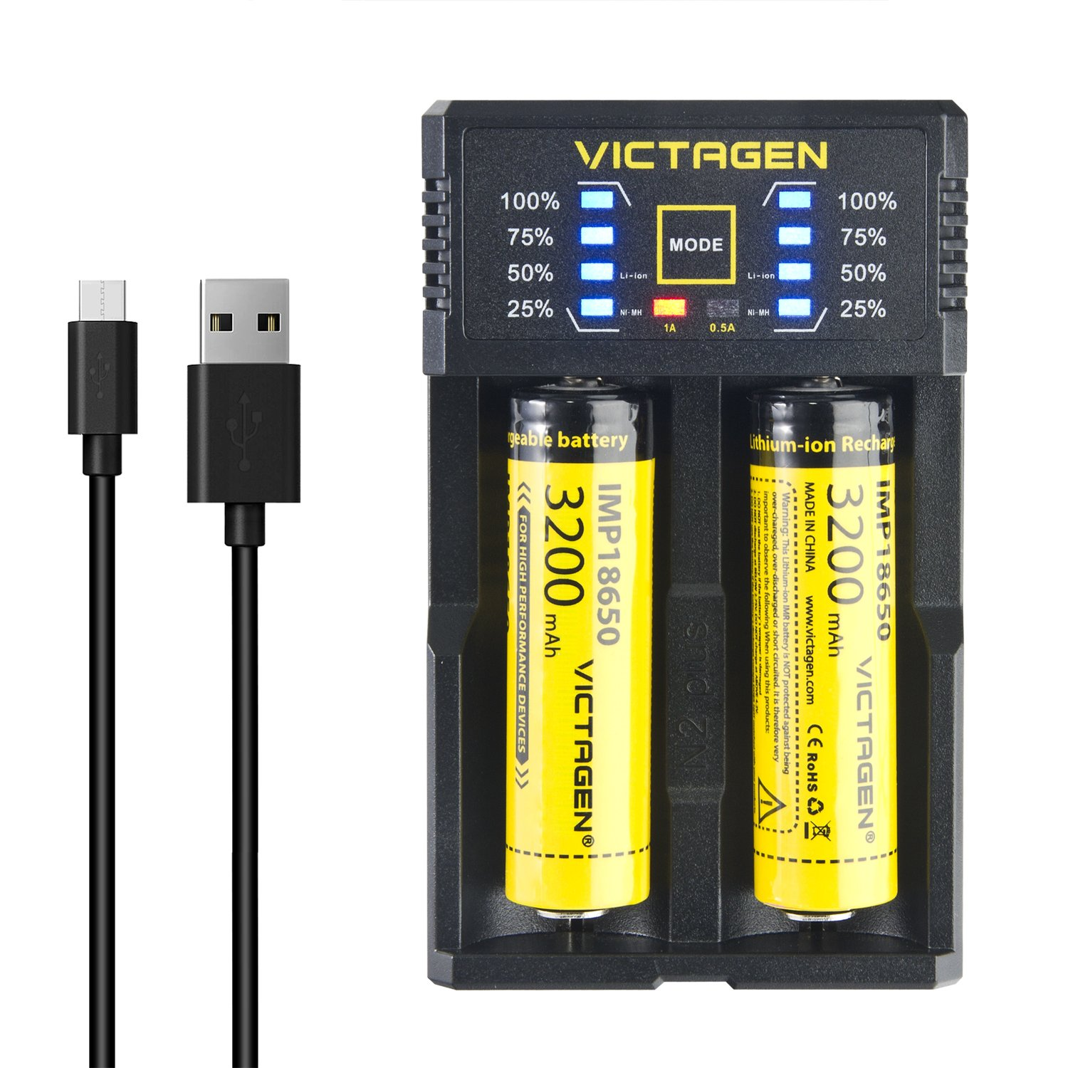 Victagen 18650 Lithium Battery (2 Packs) and Battery Charger, Universal Smart Charger For Rechargeable Batteries Li-ion 26650 18650/IMR/LiFePO4/Ni-MH/Ni-Cd 22650 18490 18350 17670 17500 16340 AA AAA C by Victagen (Image #1)
