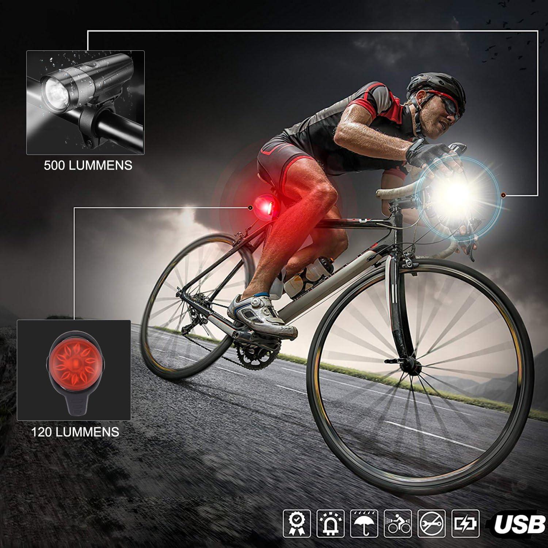Faro anteriore facile da montare Luce per Bici con luci Posteriori Posteriori 5 modalit/à Luce Set luci per bicicletta Super Bright LED LUSCREAL Luci per Bici Resistente allacqua