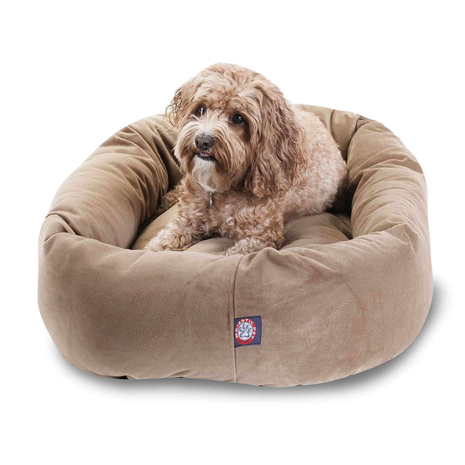 32 inch Stone Suede Bagel Dog Bed by Majestic Pet Products