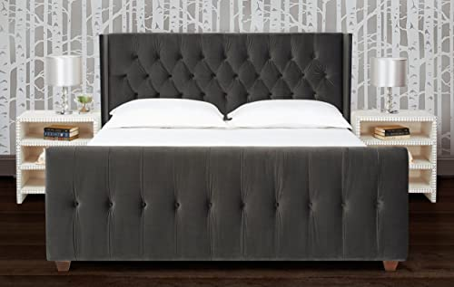 Jennifer Taylor Home David Collection Modern Upholstered King Size Size Bed Frame, Hand Tufted and Nailhead Trim, Dark Charcoal Grey