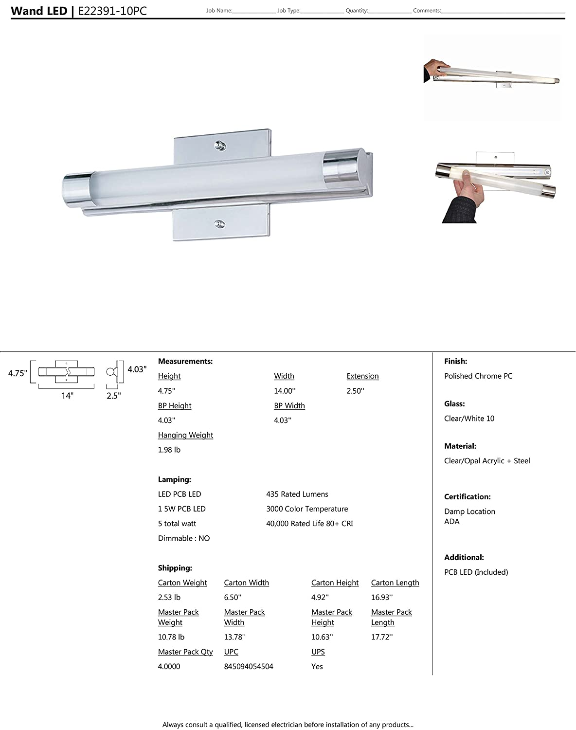 PCB LED Bulb Polished Chrome Finish Clear//White Glass 68W Max. 330 Rated Lumens Wet Safety Rated 3000K Color Temp. Shade Material ET2 E22391-10PC Wand LED Bath Vanity
