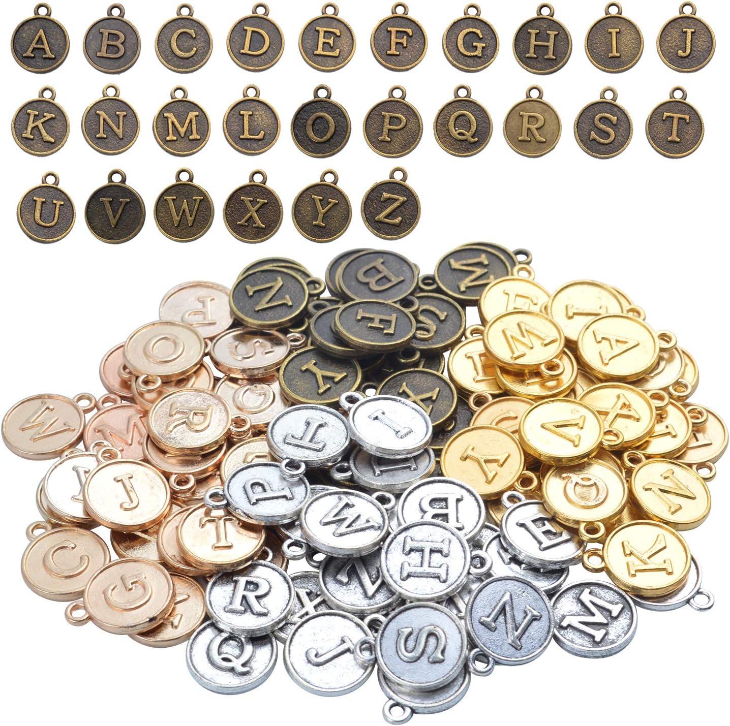 Aylifu 4 Juegos (104 Piezas) A-Z Alfabeto Encantos Letras Inicial Colgantes Dijes Vintage para Bisutería Decoracion,4 Colores
