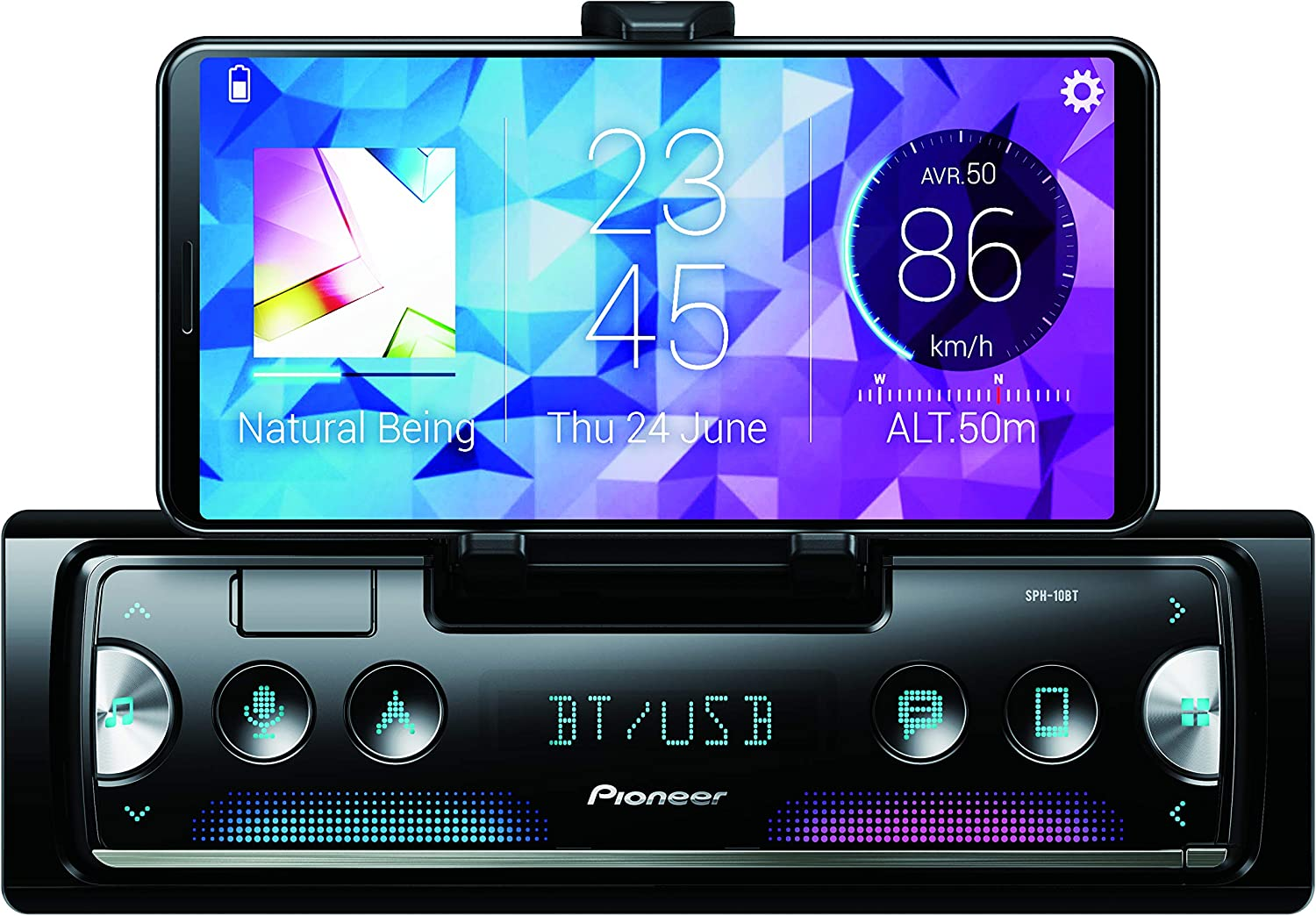 Pioneer SPH-10BT Radio MP3, Negro/Plata