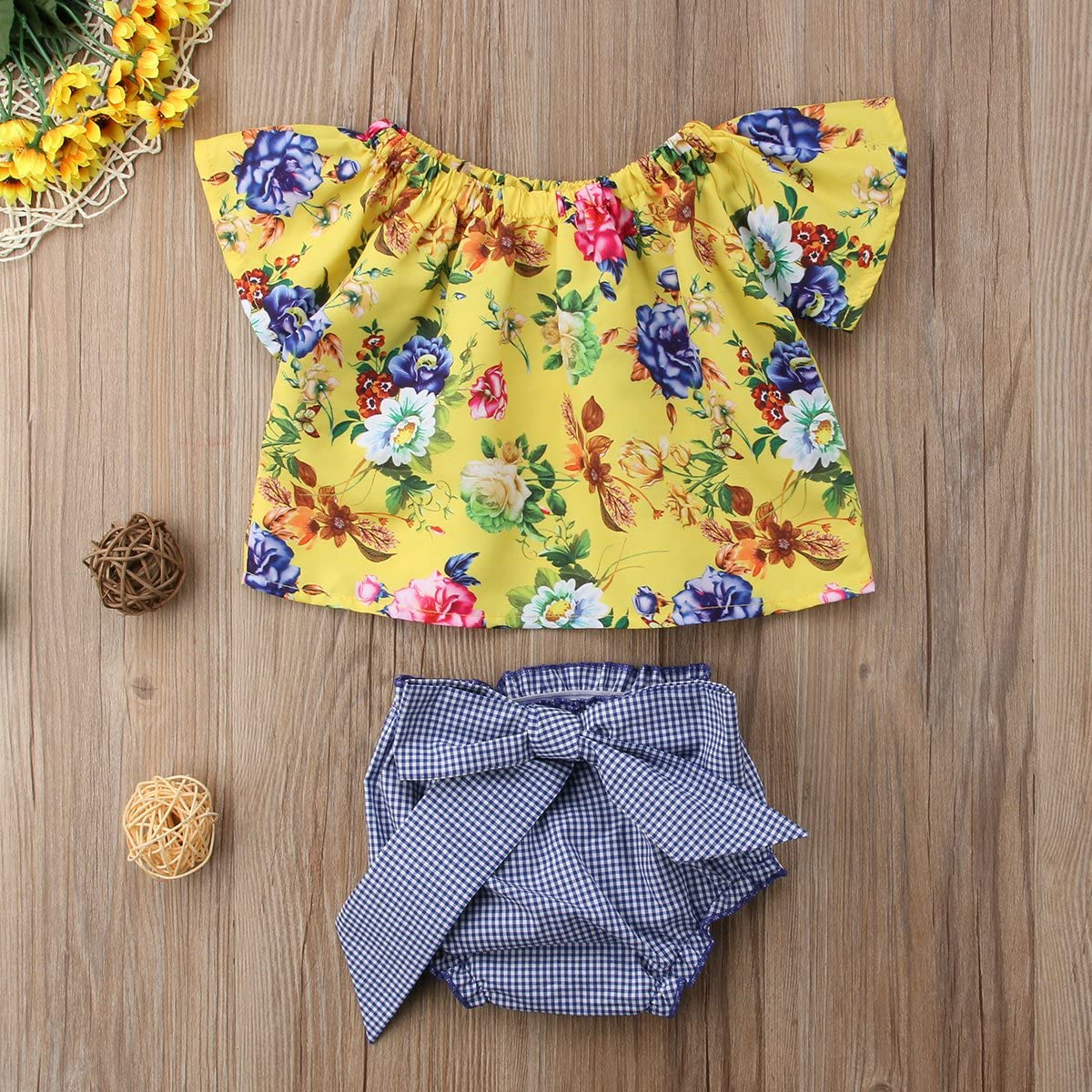 Annvivi 2pcs Baby Girl Floral Tube Top Plaid Bowknot Bottoms Casual Clothing for 0-24 Months