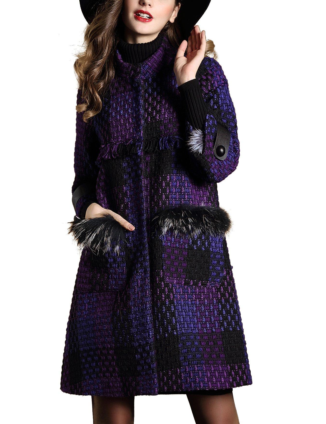 DanMunier Women's Winter Classic Double-Breasted Coat #4358 (M, Purple) by DanMunier (Image #4)