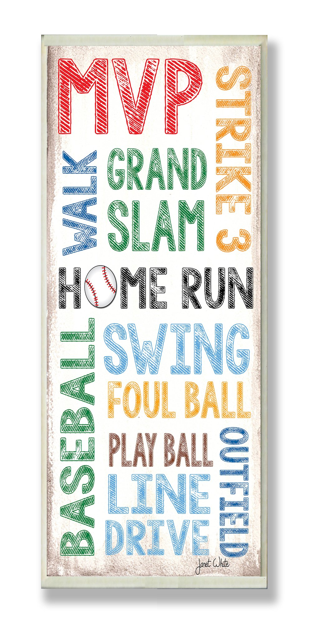 Stupell Home Décor Home Run Baseball Typography Rectangle Wall Plaque, 7 x 0.5 x 17, Proudly Made in USA