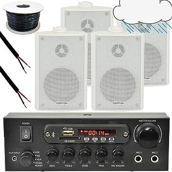 Sistema de altavoces de uso exterior Smart Home, 4 altavoces externos blancos impermeables, 1 amplificador estéreo