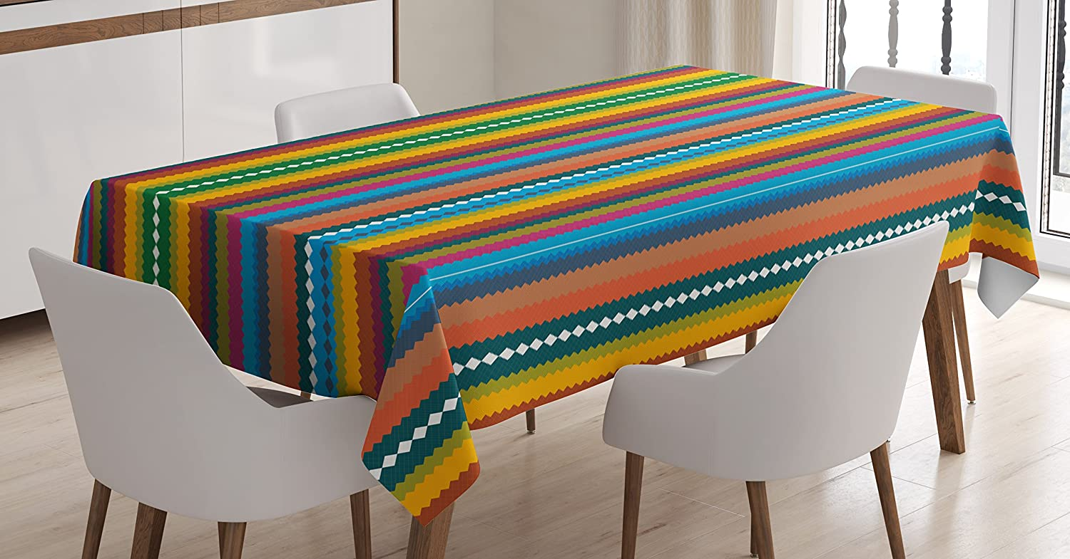 Lunarable Striped Tablecloth Ethnic Vibrant Pattern With Rainbow Color Scheme Chevron Zigzag Design Tribal Image Dining Room Kitchen Rectangular Table