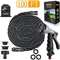 HOMOZE 100ft Expanding Garden Hose Pipe 100ft Expandable Garden Hose Pipe with 8 Function Spray Gun Flexible Expanding Water Hose Free Garden Storage/3-in-1 Tap Connector