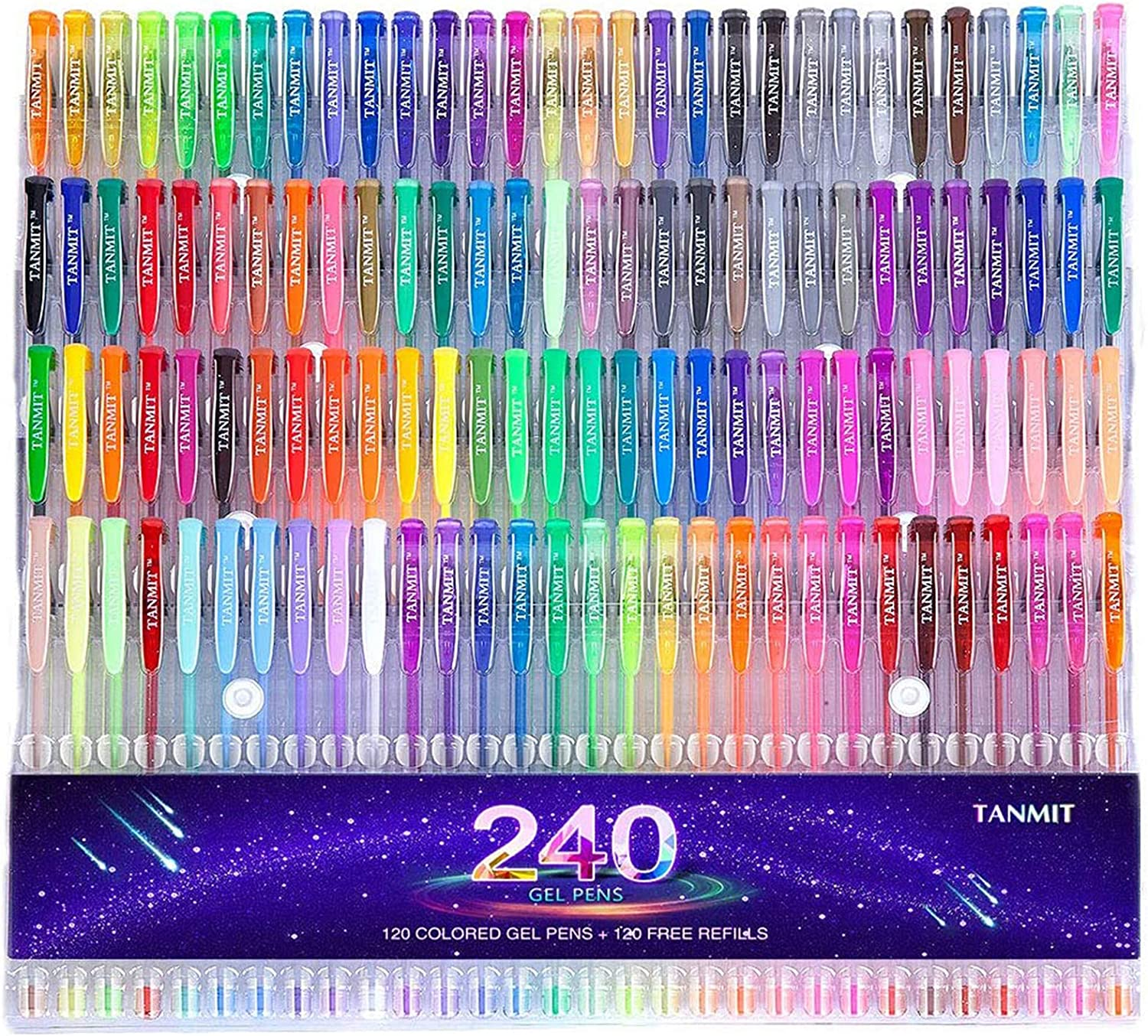 Gel Pens,Tanmit Gel Pens Set, 120 Colored Gel Pen plus 120 Refills for Adults Coloring Books