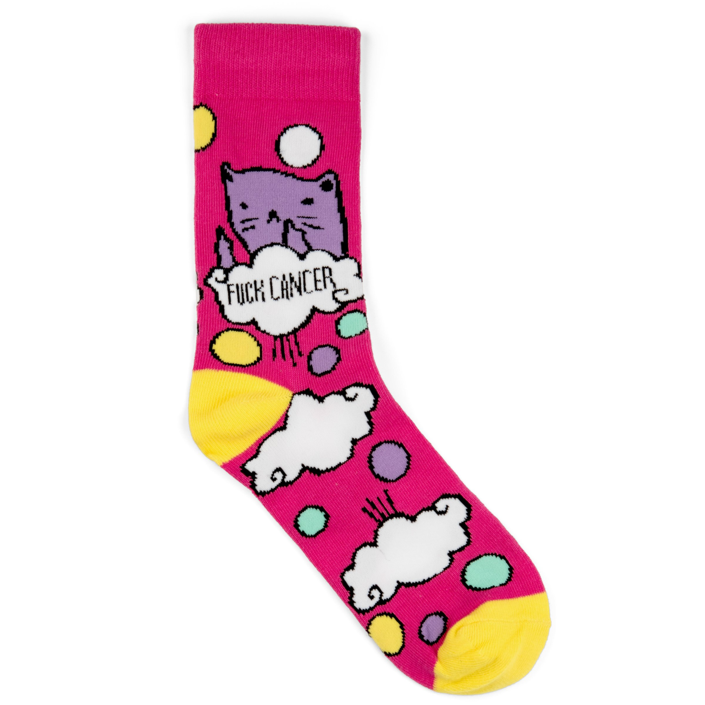 ''Fuck Cancer'' Socks - Funny Novelty Gag Gift Idea for a Breast Cancer Survivor or Chemo Patient - Pink with Cat Awareness Apparel