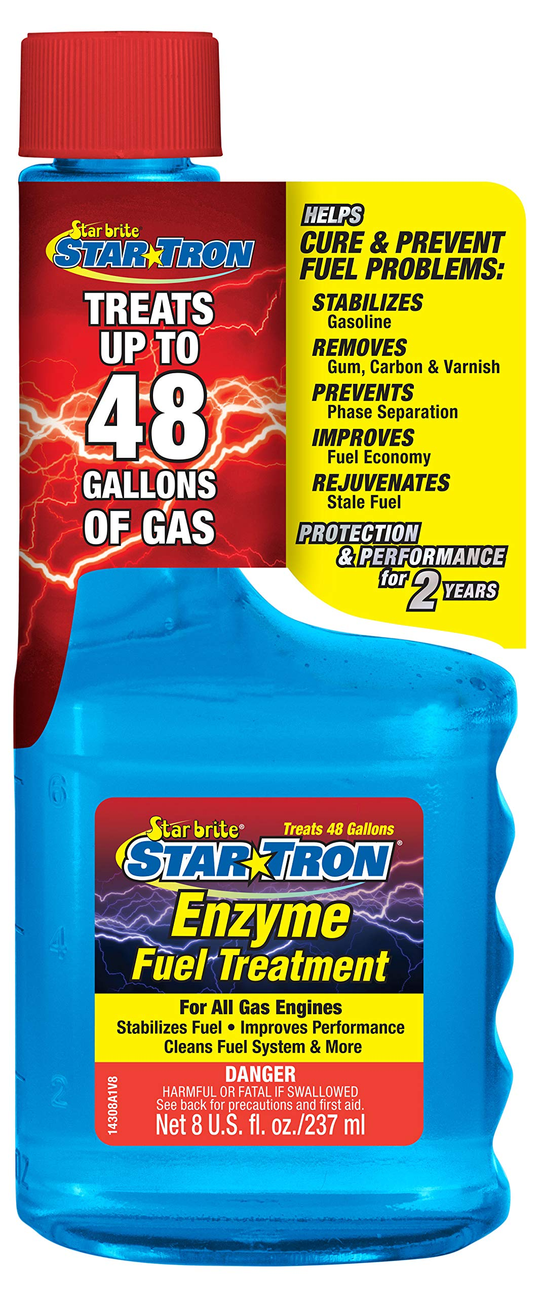 Star Tron Enzyme Fuel Treatment - Gas Formula 8 oz - Treats 48 Gallons by Star Brite