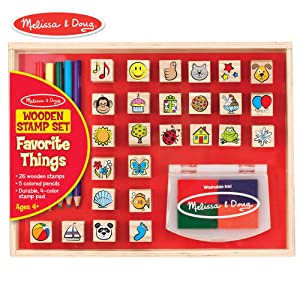 "Melissa & Doug Wooden Favorite Things Stamp Set (Arts & Crafts, Sturdy Wooden Storage Box, Washable Ink, 26 Pieces, 10.45"" H x 8.25"" W x 1.6"" L)"
