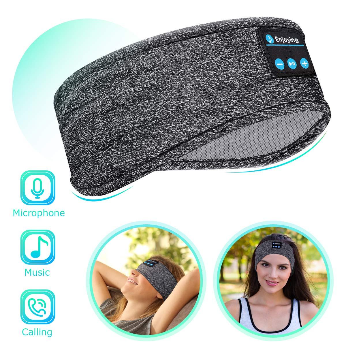Bluetooth Sleep Headphones Eye Mask, Wireless Sports Headband Headphones with Detachable Stereo Thin Speaker for Sleeping, Sports, Meditation & Relax, Sports Headband (Grey)