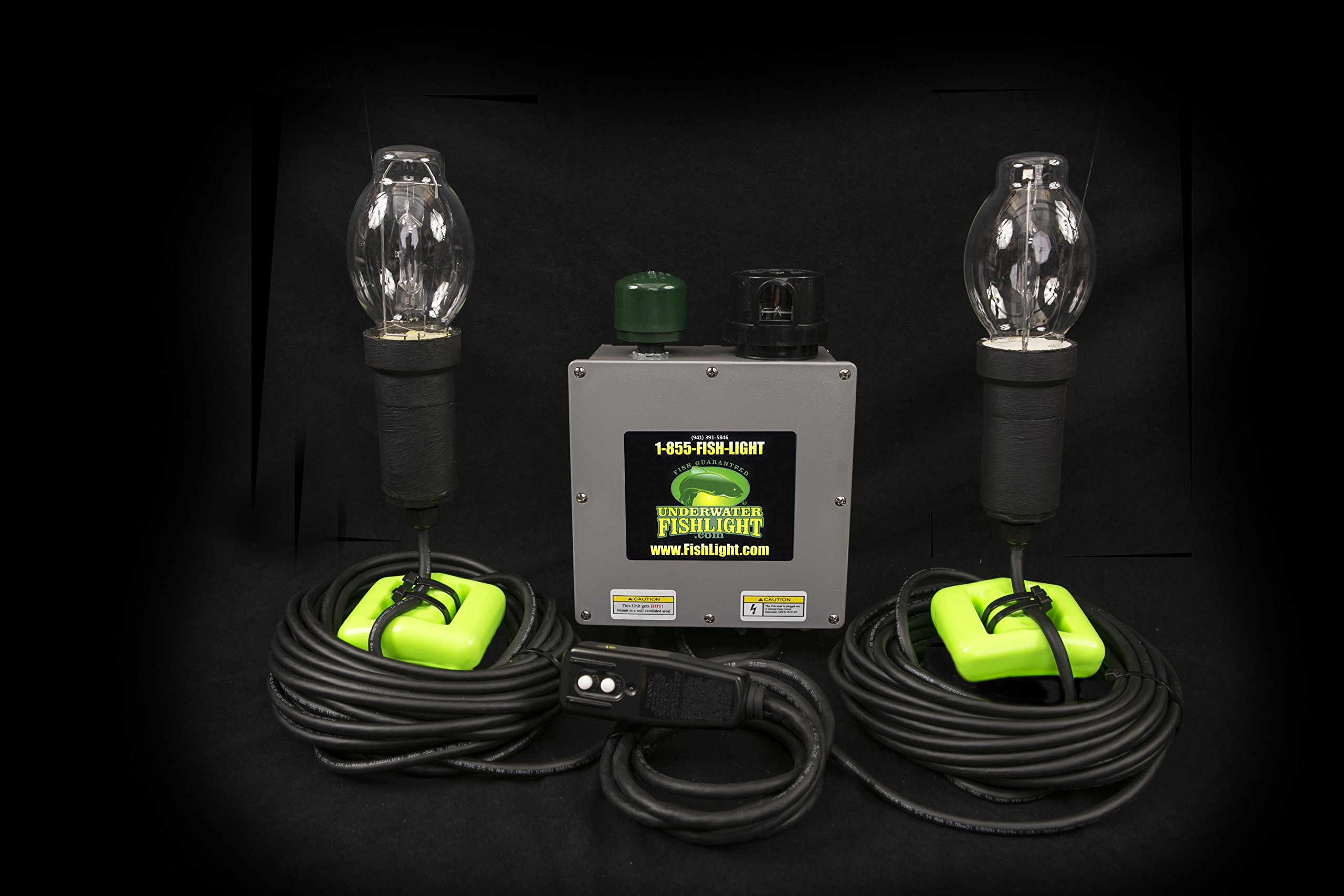 Underwater Fish Light - Double Bulb Underwater Dock Light 50ft Wires by UnderwaterFishLight.com