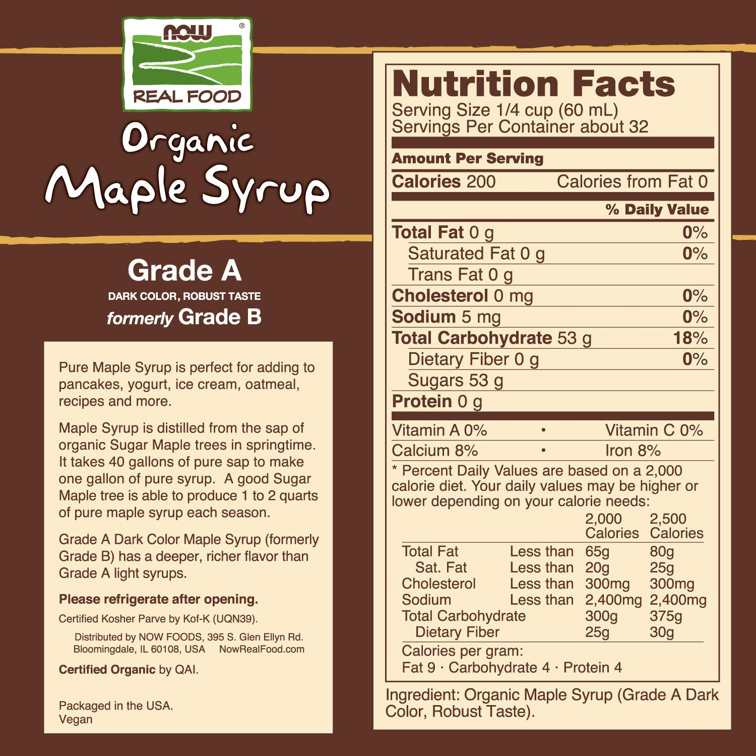 NOW Foods, Certified Organic Maple Syrup, Grade A Dark Color, Certified Non-GMO, Pure, Robust Taste, 64-Ounce by NOW Foods (Image #2)