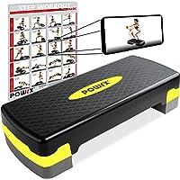 POWRX Stepbank voor thuis incl. workout I Stepper in hoogte verstelbaar en antislip voor aerobic, gymnastiek en fitness…