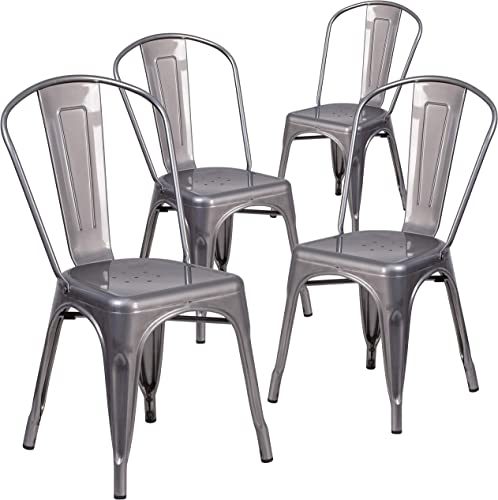 Flash Furniture 4 Pack Clear Coated Metal Indoor Stackable Chair