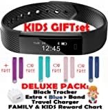 Kids Fitness Tracker for Kids, Women, Men | Smart Activity Tracker 2 Wrist Bands for iOS Android | Bluetooth Pedometer Step Counter Sleep Monitor Tracker+Charger+Chart+Black+Color Band (Deluxe Blue)