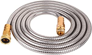 VERAGREEN Stainless Steel Metal Garden Hose 304 Stainless Steel Water Hose with Solid Metal Fittings and Newest Spray Nozzle, Lightweight, Kink Free, Durable and Easy to Store (10FT)