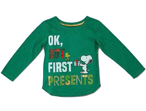peanuts babytoddler girls snoopy and woodstock christmas presents shirt 12 months - Peanuts Christmas Shirt