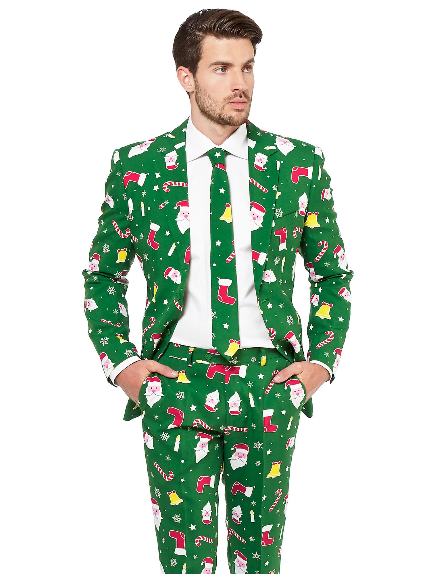 acbe36eef4f2 Galleon - OppoSuits Christmas Suits For Men In Different Prints – Ugly Xmas  Sweater Costumes Include Jacket Pants & Tie