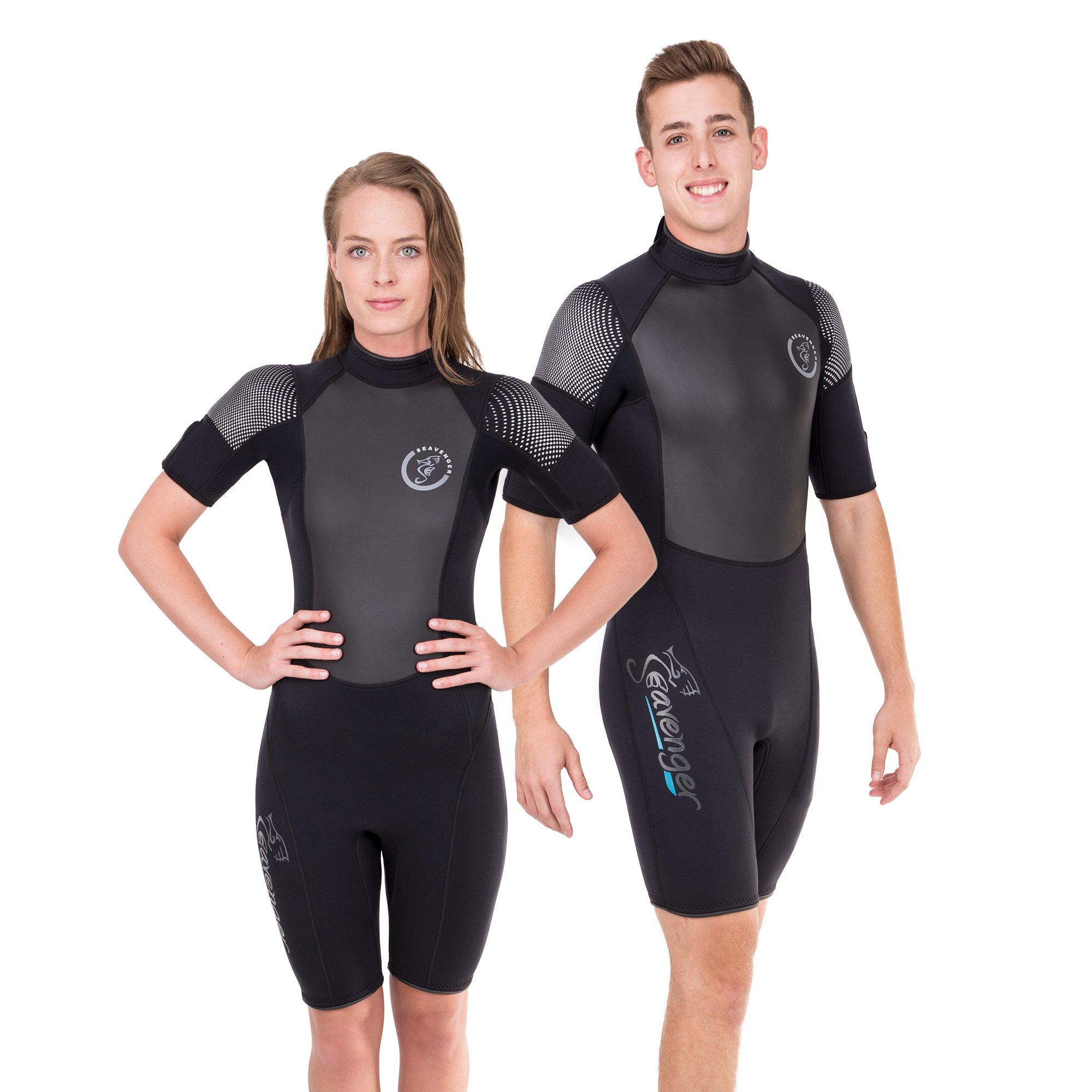Seavenger Navigator 3mm Shorty | Short Sleeve Wetsuit for Men and Women | Surfing, Snorkeling, Scuba Diving (Surfing Black, Men's X-Small) by Seavenger