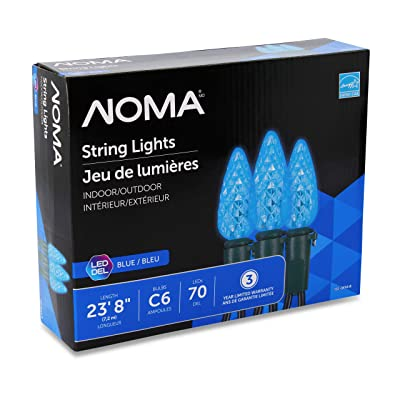 "NOMA LED Christmas Lights | 70-Count C6 Blue Bulbs | 23' 8"" String Light 