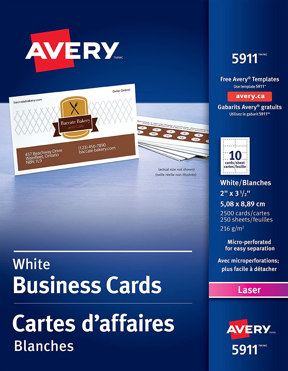 Avery Perforated Business Cards for Laser Printers, 2 x 3-1/2, White, Uncoated, 2500 Pack, Rectangle (5911) 2 x 3-1/2 Avery Dennison CA